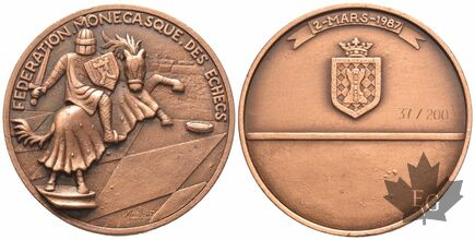 MEDAILLE-1987-FEDERATION-MONEGASQUE-ECHECS-49mm