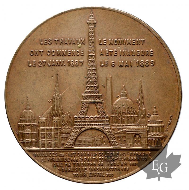 monnaies france 1889 medaille inauguration de la tour eiffel sup. Black Bedroom Furniture Sets. Home Design Ideas