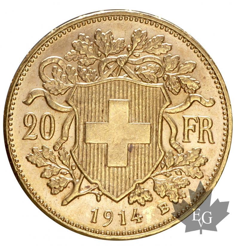 monnaies suisse 1914 20 francs sup fdc. Black Bedroom Furniture Sets. Home Design Ideas