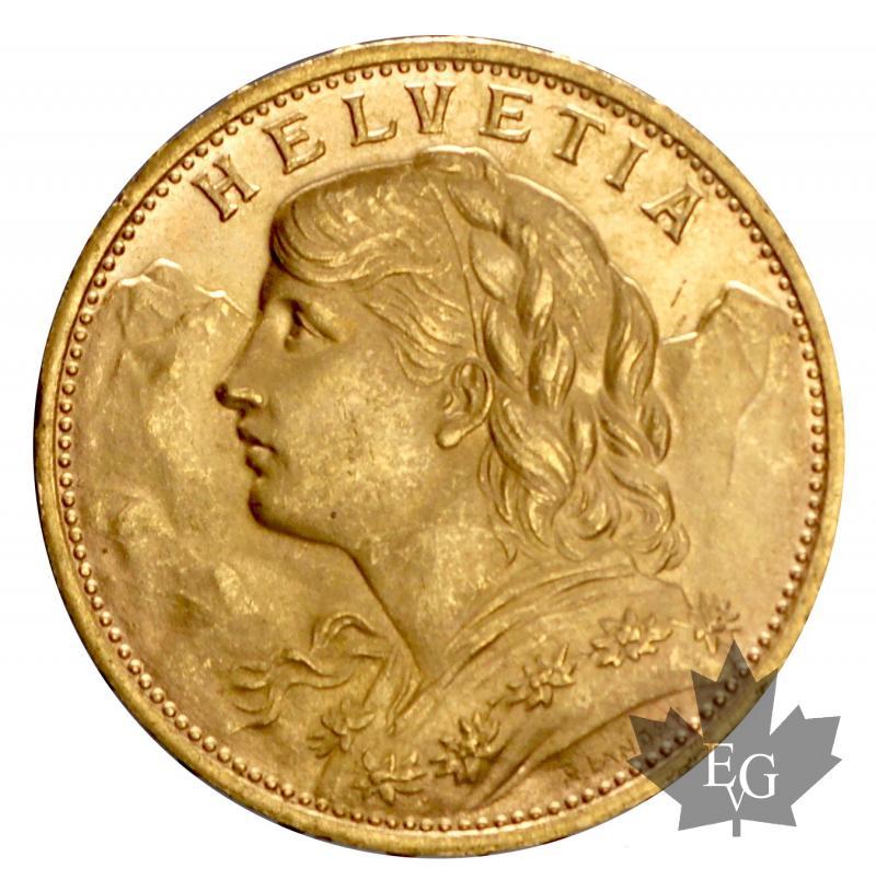 Monnaies - SUISSE-1930-20 FRANCS-HELVETIA-prFDC