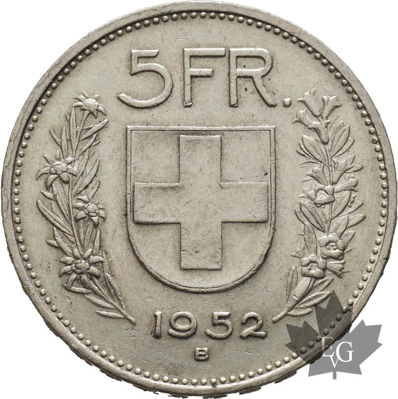 Coins Suisse 1952 B 5 Francs Fdc