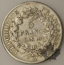 FRANCE-1801-5 Francs An 10A  Union et Force  TB
