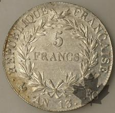 FRANCE-1804-5 Francs An 13A Empereur TTB SUP