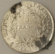 FRANCE-1807L-5 Francs Empereur SUP