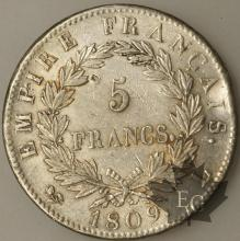 FRANCE-1809L-5 Francs tête laurée EMPIRE TTB