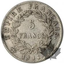 FRANCE-1811D-5 Francs tête laurée EMPIRE TB-TTB