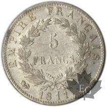 FRANCE-1811L-5 Francs tête laurée EMPIRE pr.  TTB