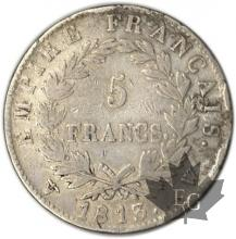 FRANCE-1813W-5 Francs tête laurée EMPIRE TB
