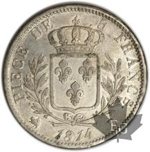 FRANCE-1814B-5 Francs tête laurée Louis XVIII TTB