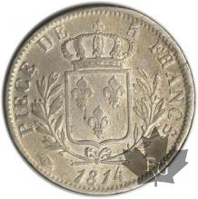 FRANCE-1814I-5 Francs tête laurée Louis XVIII TTB