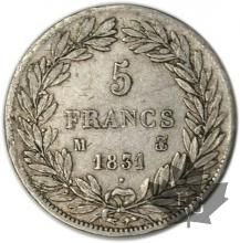 FRANCE-1831M-5 Francs Louis-Philippe  G. 676  TB-TTB