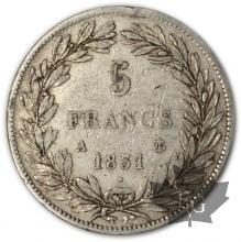 FRANCE-1831A-5 Francs Louis-Philippe  G. 676a  TBTTB