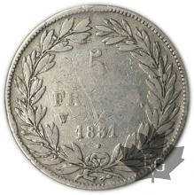 FRANCE-1831W-5 Francs Louis-Philippe  G. 676a  TB