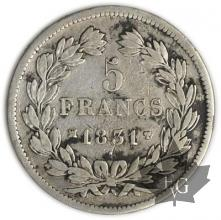 FRANCE-1831MA-5 Francs Louis-Philippe  G. 677a  TBTTB