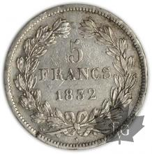 FRANCE-1832T-5 Francs Louis-Philippe  G. 678  TTB
