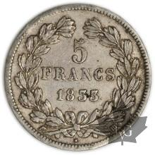 FRANCE-1833BB-5 Francs Louis-Philippe  G. 678  TTB