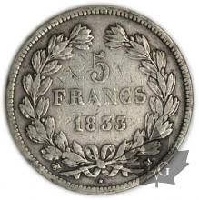FRANCE-1833M-5 Francs Louis-Philippe  G. 678  TBTTB