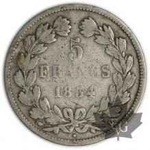 FRANCE-1834L-5 Francs Louis-Philippe  G. 678  TB
