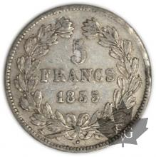 FRANCE-1835D-5 Francs Louis-Philippe  G. 678  pr. TTB
