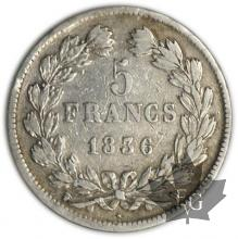 FRANCE-1836W-5 Francs Louis-Philippe  G. 678  pr. TTB