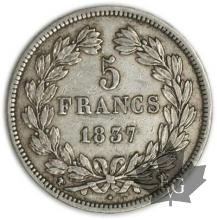 FRANCE-1837W-5 Francs Louis-Philippe  G. 678  TTB