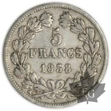 FRANCE-1838BB-5 Francs Louis-Philippe  G. 678  TTB