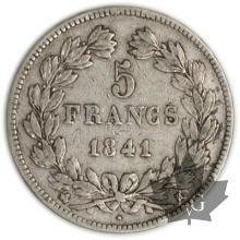 FRANCE-1841B-5 Francs Louis-Philippe  G. 678   TTB