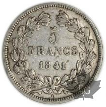 FRANCE-1841W-5 Francs Louis-Philippe  G. 678   TTB