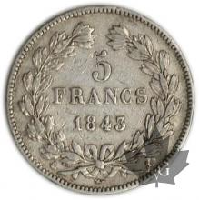 FRANCE-1843A-5 Francs Louis-Philippe  G. 678   TTB
