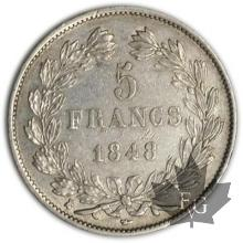 FRANCE-1848K-5 Francs Louis-Philippe  G. 678a  TTBSUP