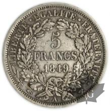 FRANCE-1849A-5 Francs main/main 2e République G. 719  TTB
