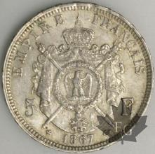 FRANCE-1867BB-5 Francs 2e Empire G. 739 pr. SUP
