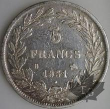 FRANCE-1831B-5 Francs Louis-Philippe  G. 676a  TBTTB