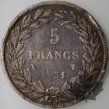 FRANCE-1831W-5 Francs Louis-Philippe  G. 676a  TBTTB