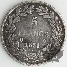 FRANCE-1831Q-5 Francs Louis-Philippe  G. 676  TBTTB