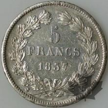FRANCE-1837A-5 Francs Louis-Philippe  G. 678  pr. SUP