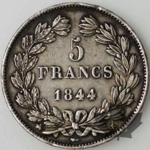 FRANCE-1844B-5 Francs Louis-Philippe  G. 678a  TTB