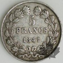 FRANCE-1847K-5 Francs Louis-Philippe  G. 678a  TTB