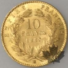 FRANCE-1867BB-10 FRANCS  G. 1015 SUP