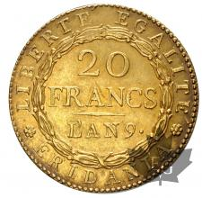 ITALIE-1801-AN 9-20 FRANCS-REPUBLIQUE SUBALPINE-SUP