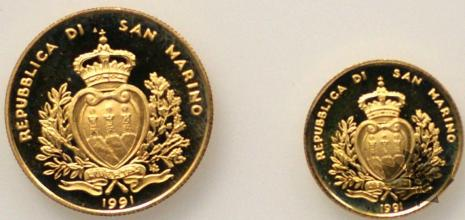 SAINT MARIN-1991- 1 & 2 SCUDI OR- PROOF