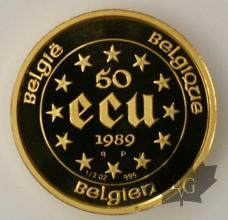 BELGIQUE-1989 - 50 ECU OR
