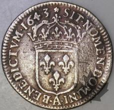 FRANCE-1643A -1/12 Ecu  G. 46 3 éloigné  TB-Louis XIII
