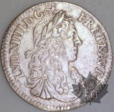 FRANCE-1664A-1/12 Ecu  G. 115 TBTTB-Louis XIV
