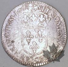 FRANCE-1664&-1/12 Ecu  G. 115 TBTTB-Louis XIV