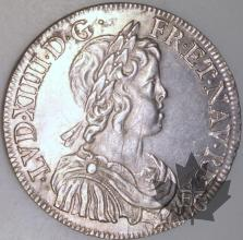 FRANCE-1644A-1/2 Ecu  point G. 168 TTBSUP-Louis XIV