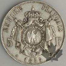 FRANCE-1855BB-5 Francs 2e Empire G. 734 TTB+