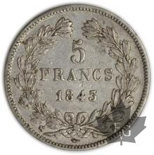 FRANCE-1843B-5 Francs Louis-Philippe  G. 678   TTB+