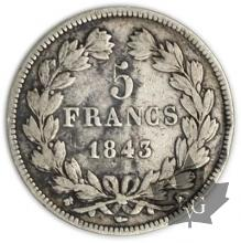FRANCE-1843K-5 Francs Louis-Philippe  G. 678   TB+