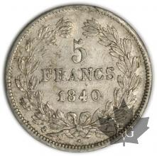 FRANCE-1840A-5 Francs Louis-Philippe  G. 678  TTB+